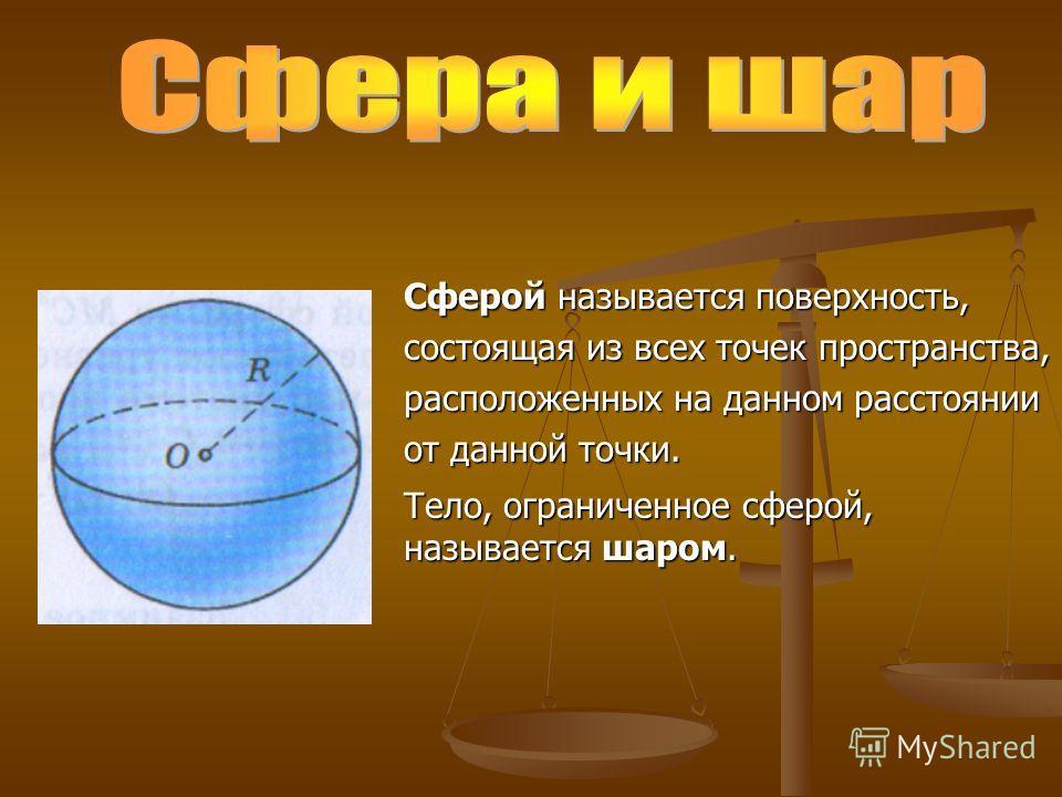 Сферой называется поверхность, состоящая из всех точек пространства, расположенных на данном расстоянии от данной точки. Тело, ограниченное сферой, называется шаром.