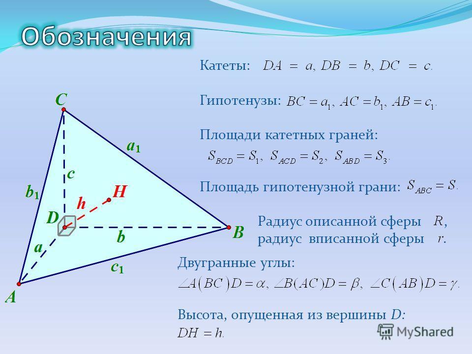 Катеты: Гипотенузы: Площади катетных граней: Площадь гипотенузной грани: Радиус описанной сферы, радиус вписанной сферы. Двугранные углы: Высота, опущенная из вершины D: