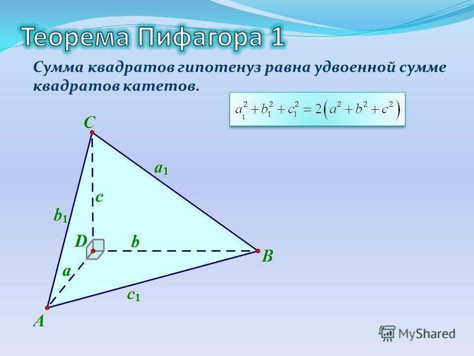 Сумма квадратов гипотенуз равна удвоенной сумме квадратов катетов.