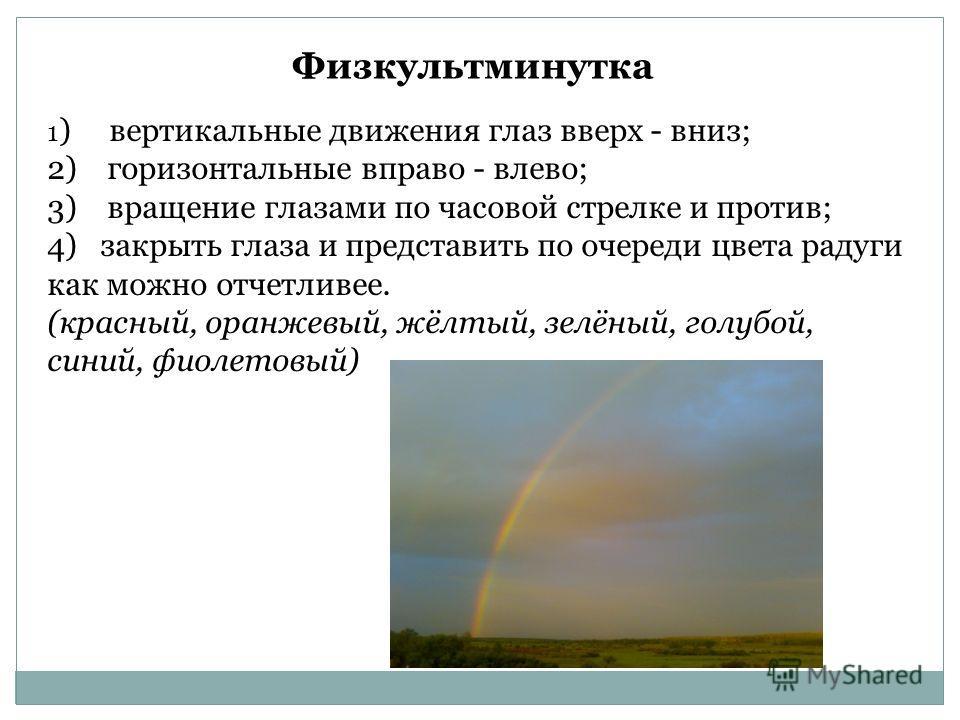 Физкультминутка 1 ) вертикальные движения глаз вверх - вниз; 2) горизонтальные вправо - влево; 3) вращение глазами по часовой стрелке и против; 4) закрыть глаза и представить по очереди цвета радуги как можно отчетливее. (красный, оранжевый, жёлтый,