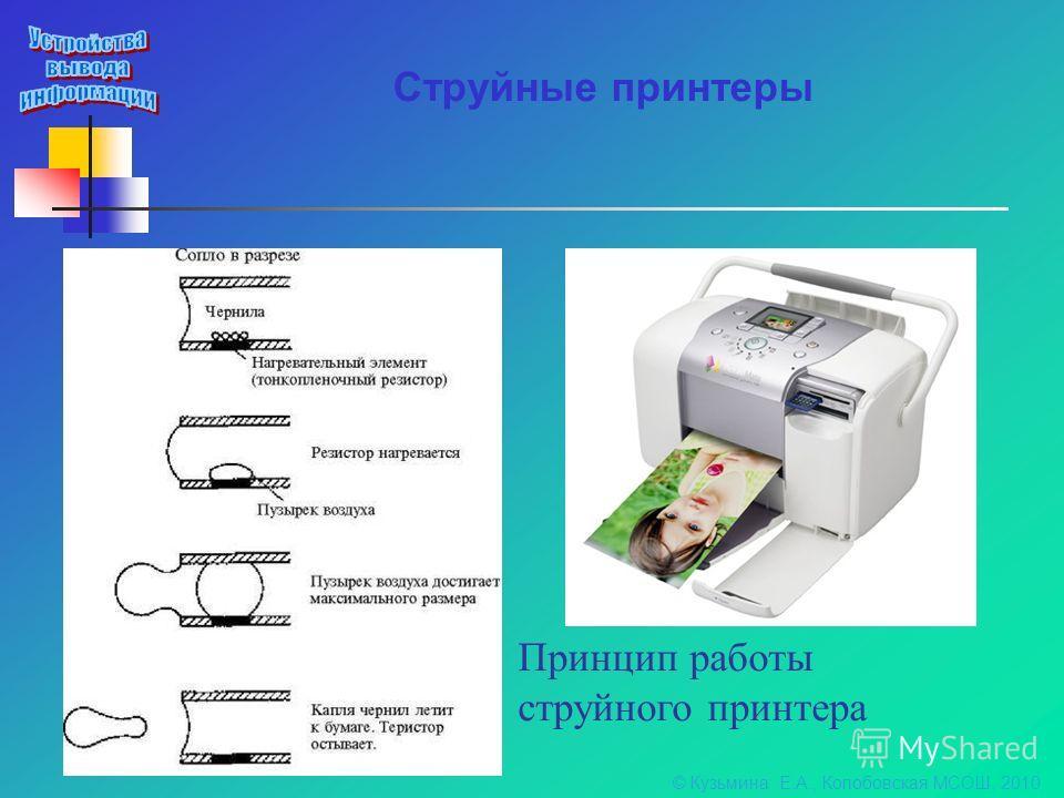 Струйные принтеры Принцип работы струйного принтера © Кузьмина Е.А., Колобовская МСОШ, 2010
