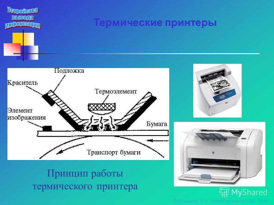 Термические принтеры Принцип работы термического принтера © Кузьмина Е.А., Колобовская МСОШ, 2010