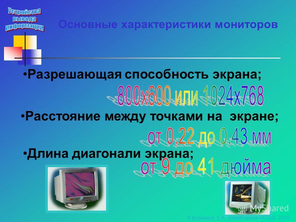 Основные характеристики мониторов Разрешающая способность экрана; Расстояние между точками на экране; Длина диагонали экрана; © Кузьмина Е.А., Колобовская МСОШ, 2010