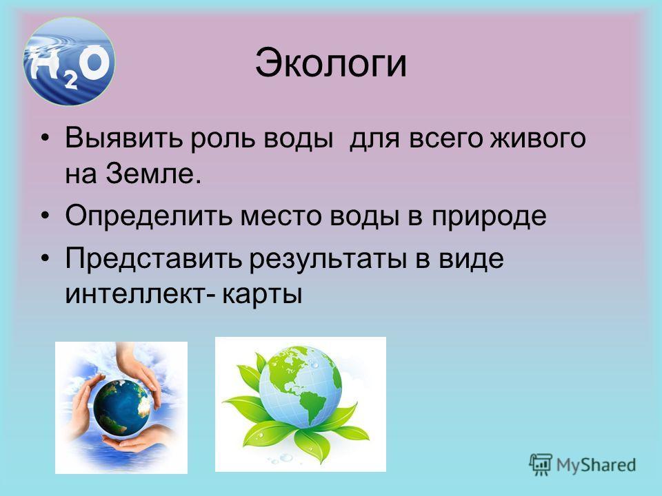 Экологи Выявить роль воды для всего живого на Земле. Определить место воды в природе Представить результаты в виде интеллект- карты