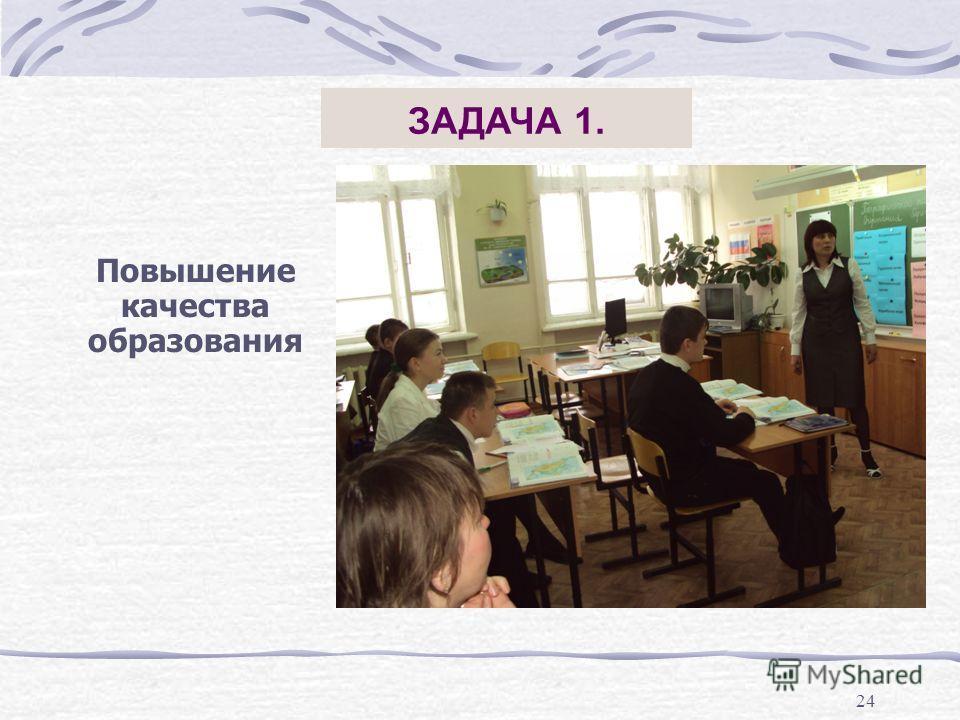 24 ЗАДАЧА 1. Повышение качества образования