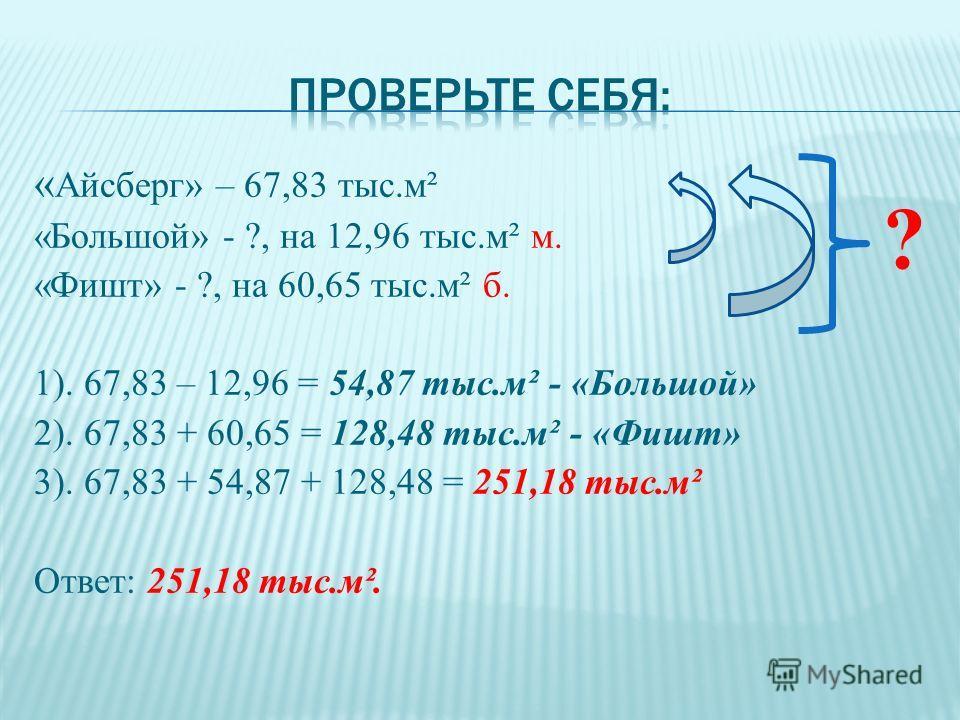 « Айсберг» – 67,83 тыс.м² «Большой» - ?, на 12,96 тыс.м² м. «Фишт» - ?, на 60,65 тыс.м² б. 1). 67,83 – 12,96 = 54,87 тыс.м² - «Большой» 2). 67,83 + 60,65 = 128,48 тыс.м² - «Фишт» 3). 67,83 + 54,87 + 128,48 = 251,18 тыс.м² Ответ: 251,18 тыс.м². ?