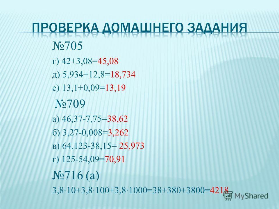 705 г) 42+3,08=45,08 д) 5,934+12,8=18,734 е) 13,1+0,09=13,19 709 а) 46,37-7,75=38,62 б) 3,27-0,008=3,262 в) 64,123-38,15= 25,973 г) 125-54,09=70,91 716 (а) 3,8·10+3,8·100+3,8·1000=38+380+3800=4218