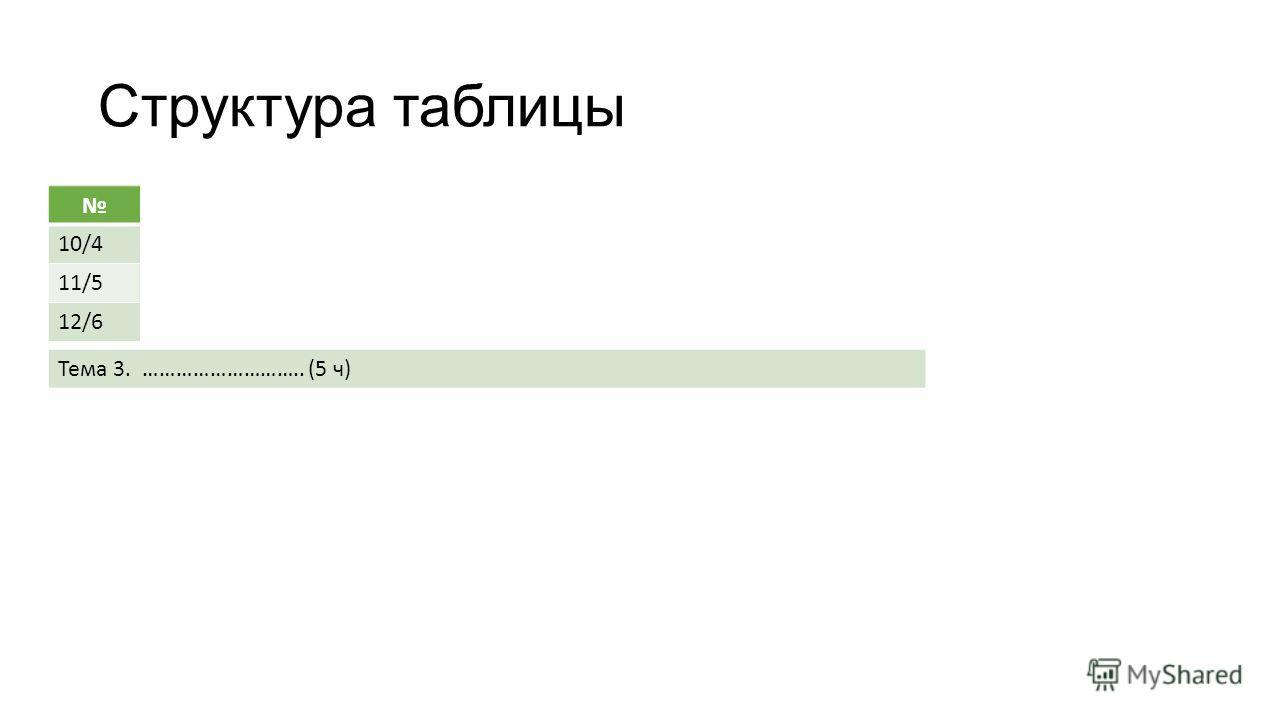 Структура таблицы 10/4 11/5 12/6 Тема 3. ……………………….. (5 ч)