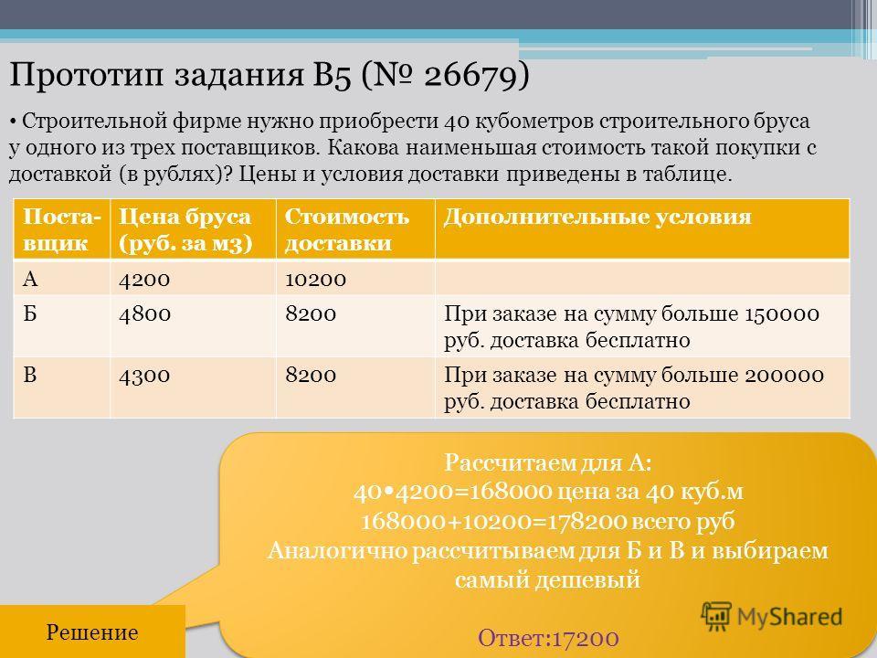 Прототип задания B5 ( 26679) Рассчитаем для А: 40 4200=168000 цена за 40 куб.м 168000+10200=178200 всего руб Аналогично рассчитываем для Б и В и выбираем самый дешевый Ответ:17200 Рассчитаем для А: 40 4200=168000 цена за 40 куб.м 168000+10200=178200