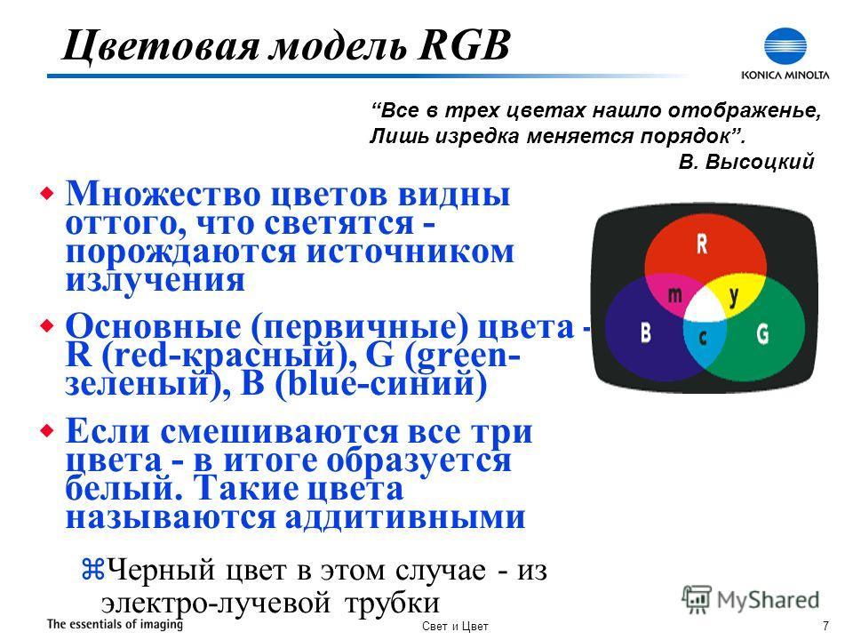 Свет и Цвет 7 w Множество цветов видны оттого, что светятся - порождаются источником излучения w Основные (первичные) цвета - R (red-красный), G (green- зеленый), B (blue-синий) w Если смешиваются все три цвета - в итоге образуется белый. Такие цвета