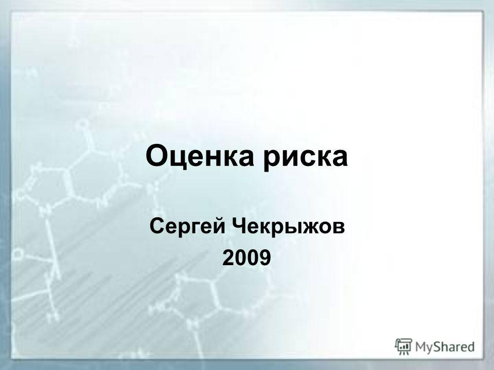 Оценка риска Сергей Чекрыжов 2009