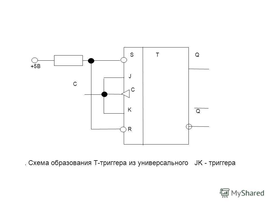 S R J K C TQ Q C +5В. Схема образования T-триггера из универсального JK - триггера