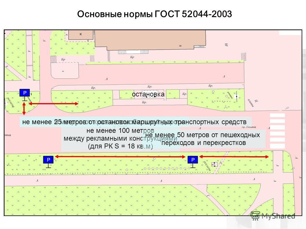 не менее 5 метров от края автомобильной дороги не менее 100 метров между рекламными конструкциями (для РК S = 18 кв.м) остановка не менее 50 метров от пешеходных переходов и перекрестков Основные нормы ГОСТ 52044-2003 не менее 25 метров от остановок