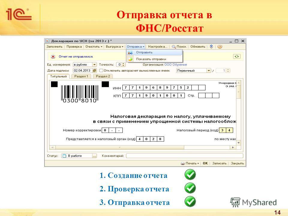 1. Создание отчета 2. Проверка отчета 3. Отправка отчета Отправка отчета в ФНС/Росстат 14