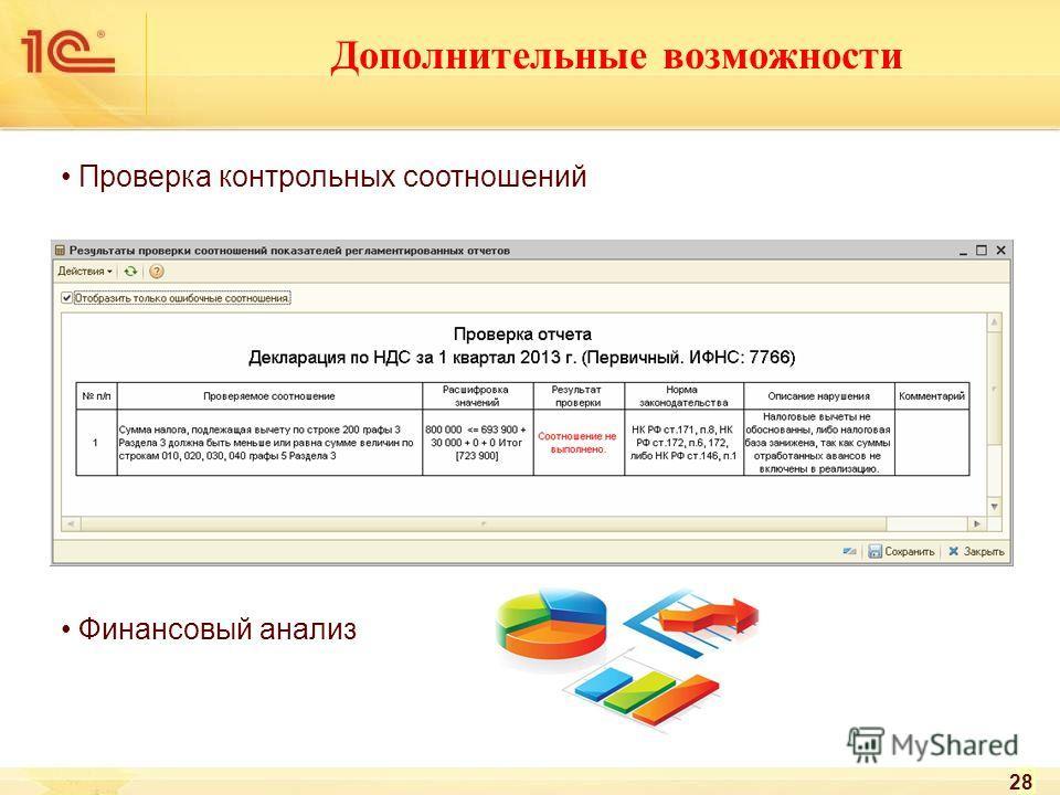 Дополнительные возможности Проверка контрольных соотношений Финансовый анализ 28