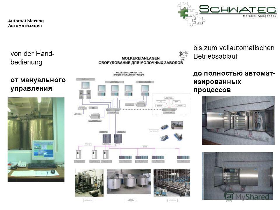 Automatisierung Автоматизация von der Hand- bedienung bis zum vollautomatischen Betriebsablauf до полностью автомат- изированных процессов от мануального управления