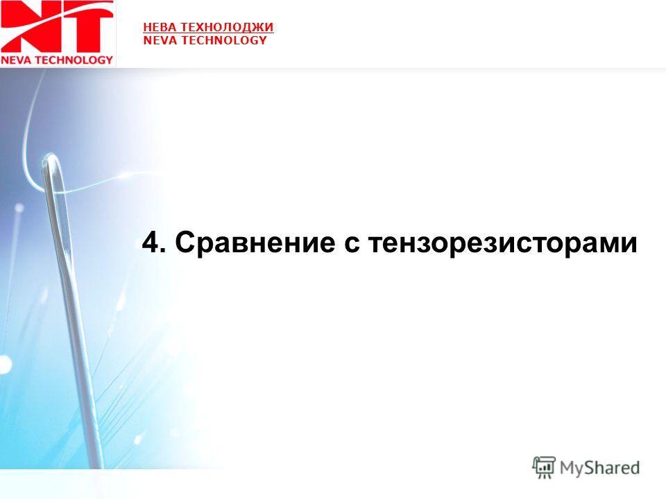 НЕВА ТЕХНОЛОДЖИ NEVA TECHNOLOGY 4. Сравнение с тензорезисторами