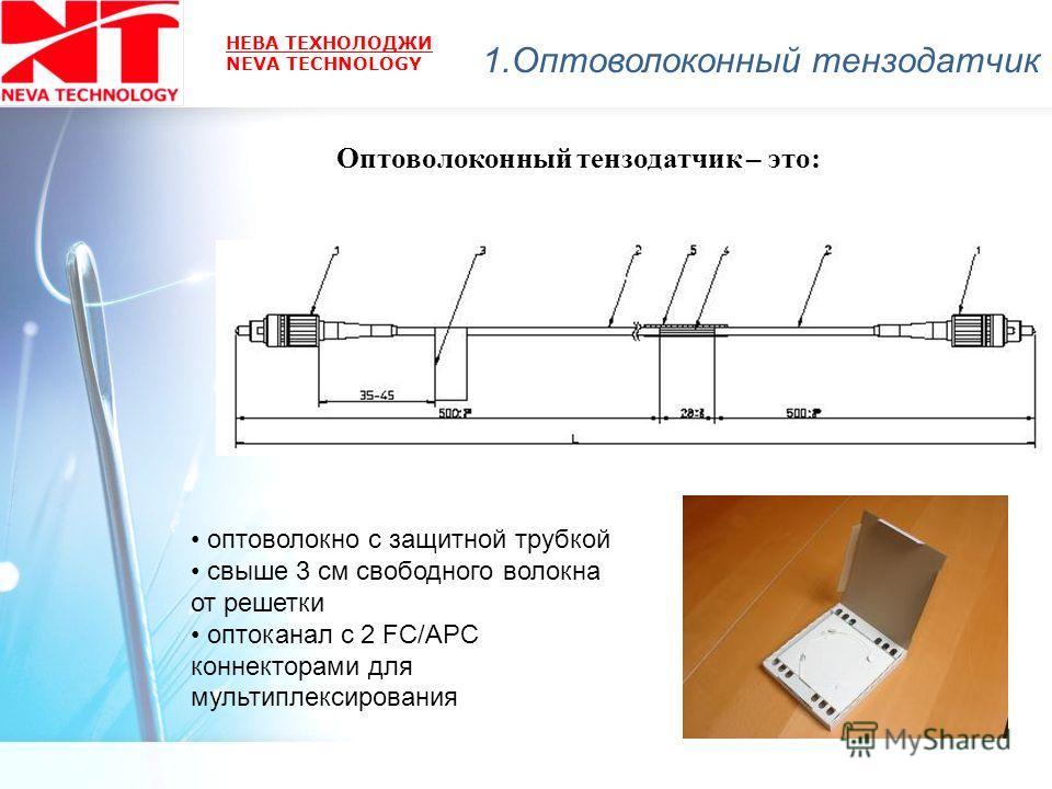 НЕВА ТЕХНОЛОДЖИ NEVA TECHNOLOGY оптоволокно с защитной трубкой свыше 3 см свободного волокна от решетки оптоканал с 2 FC/APC коннекторами для мультиплексирования Оптоволоконный тензодатчик – это: 1.Оптоволоконный тензодатчик