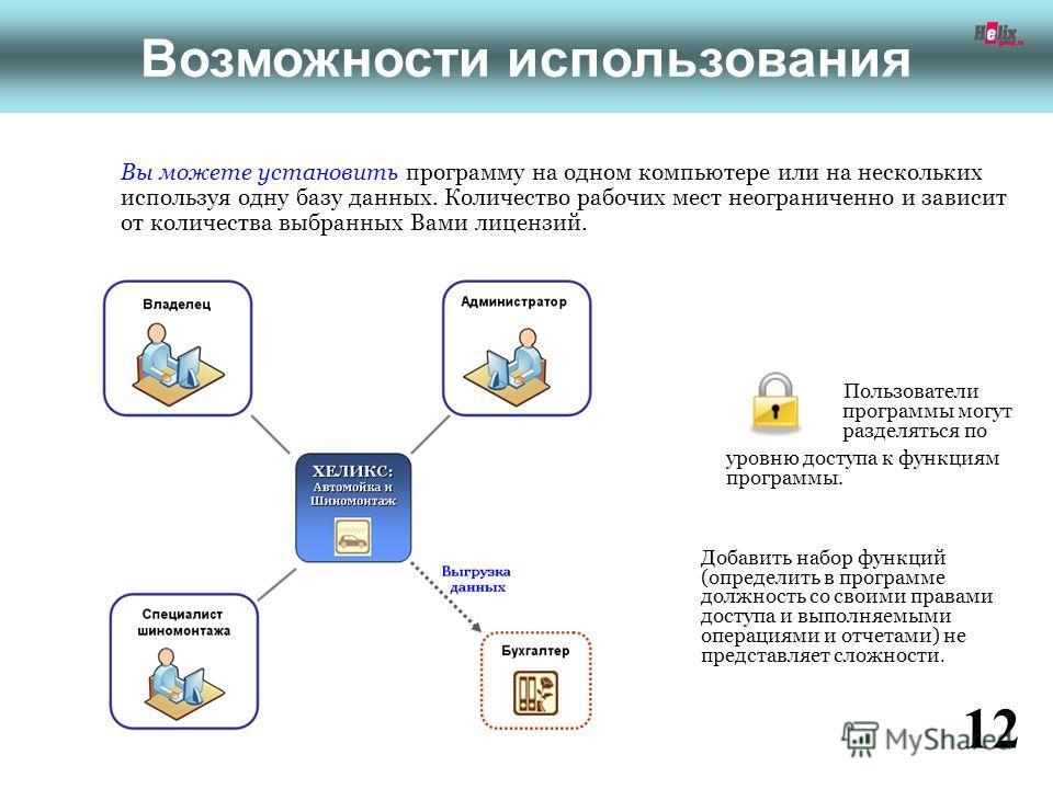 Возможности использования Вы можете установить программу на одном компьютере или на нескольких используя одну базу данных. Количество рабочих мест неограниченно и зависит от количества выбранных Вами лицензий. Добавить набор функций (определить в про