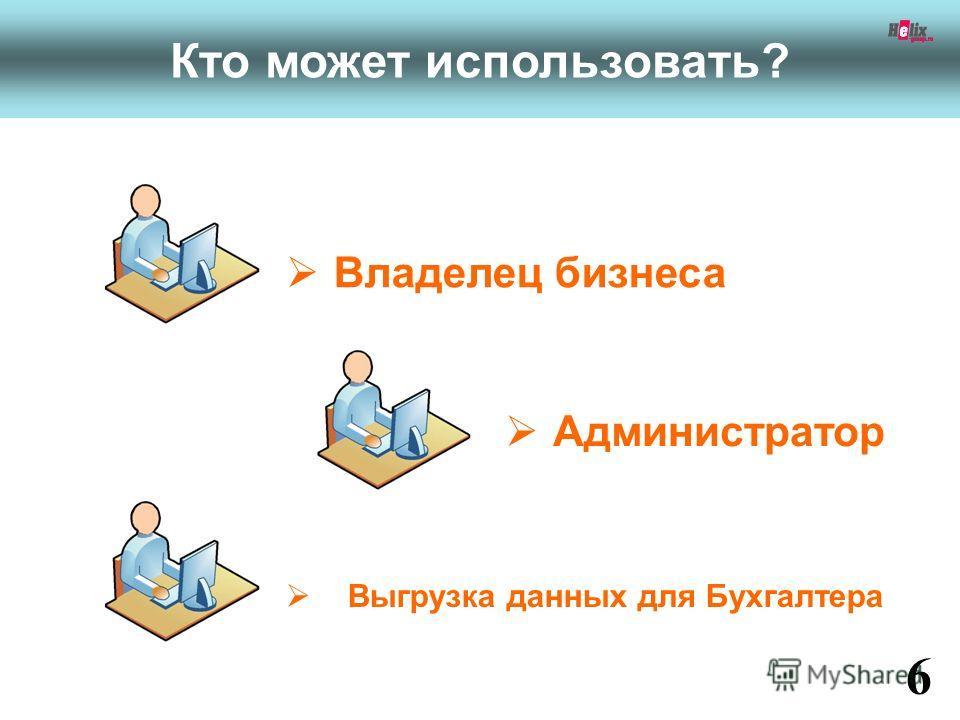 Владелец бизнеса 6 www.fitness1c.ru Кто может использовать? Выгрузка данных для Бухгалтера Администратор