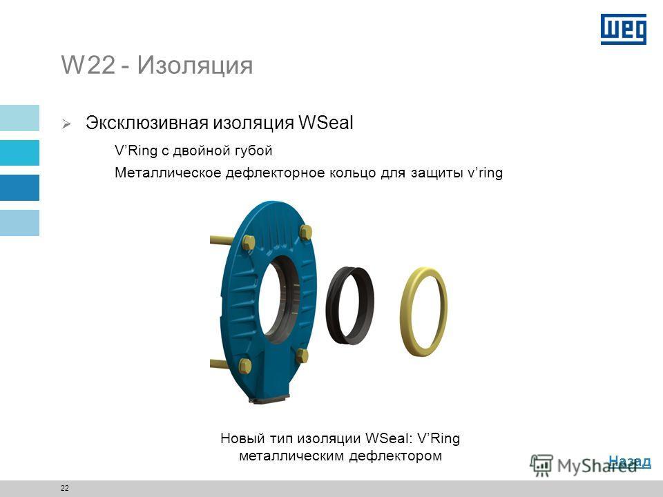 21 W22 - Задний подшипниковый щит Задний подшипниковый щит с изоляцией подшипника (опция) Выходной патрубок для смазки проходит через дефлектор (опция) Назад