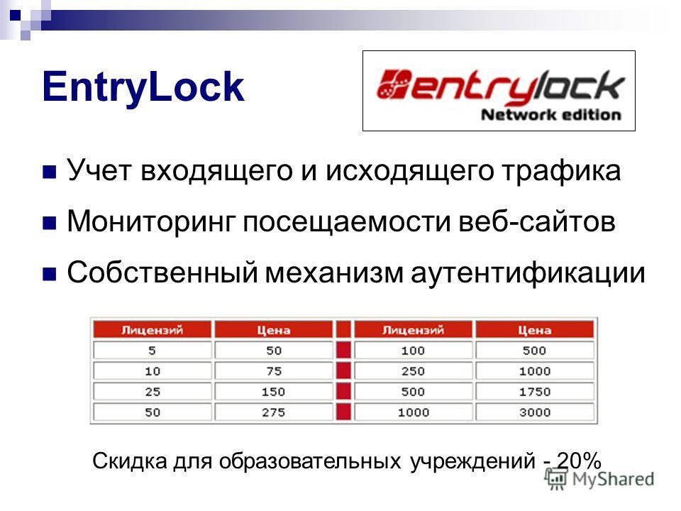 EntryLock Учет входящего и исходящего трафика Мониторинг посещаемости веб-сайтов Собственный механизм аутентификации Скидка для образовательных учреждений - 20%
