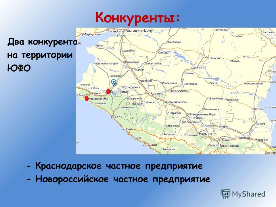 Конкуренты: Два конкурента на территории ЮФО - Краснодарское частное предприятие - Новороссийское частное предприятие