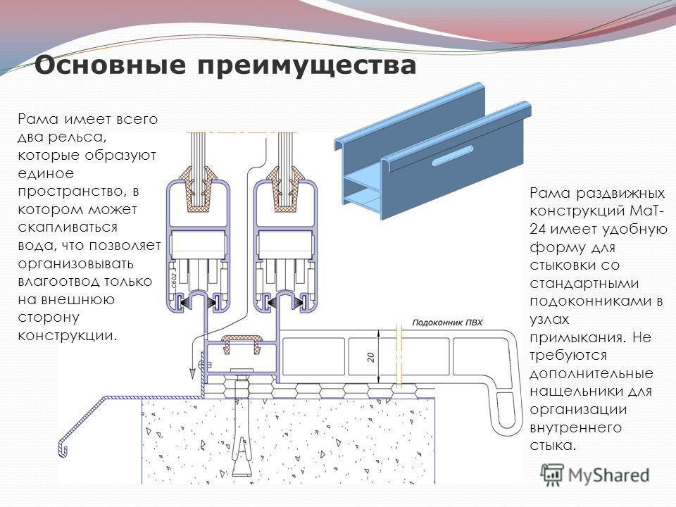 Основные преимущества Рама раздвижных конструкций МаТ- 24 имеет удобную форму для стыковки со стандартными подоконниками в узлах примыкания. Не требуются дополнительные нащельники для организации внутреннего стыка. Рама имеет всего два рельса, которы