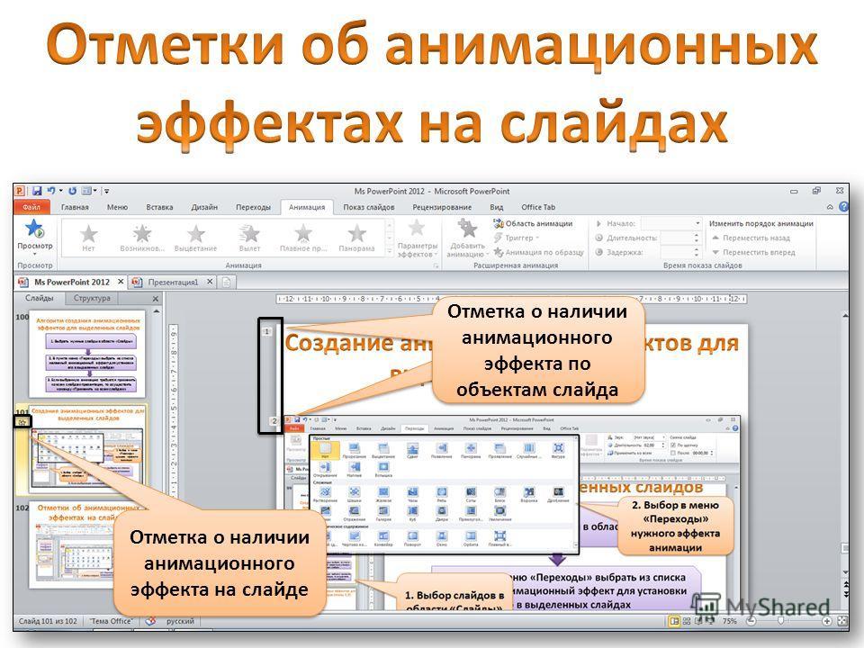 Отметка о наличии анимационного эффекта на слайде Отметка о наличии анимационного эффекта по объектам слайда