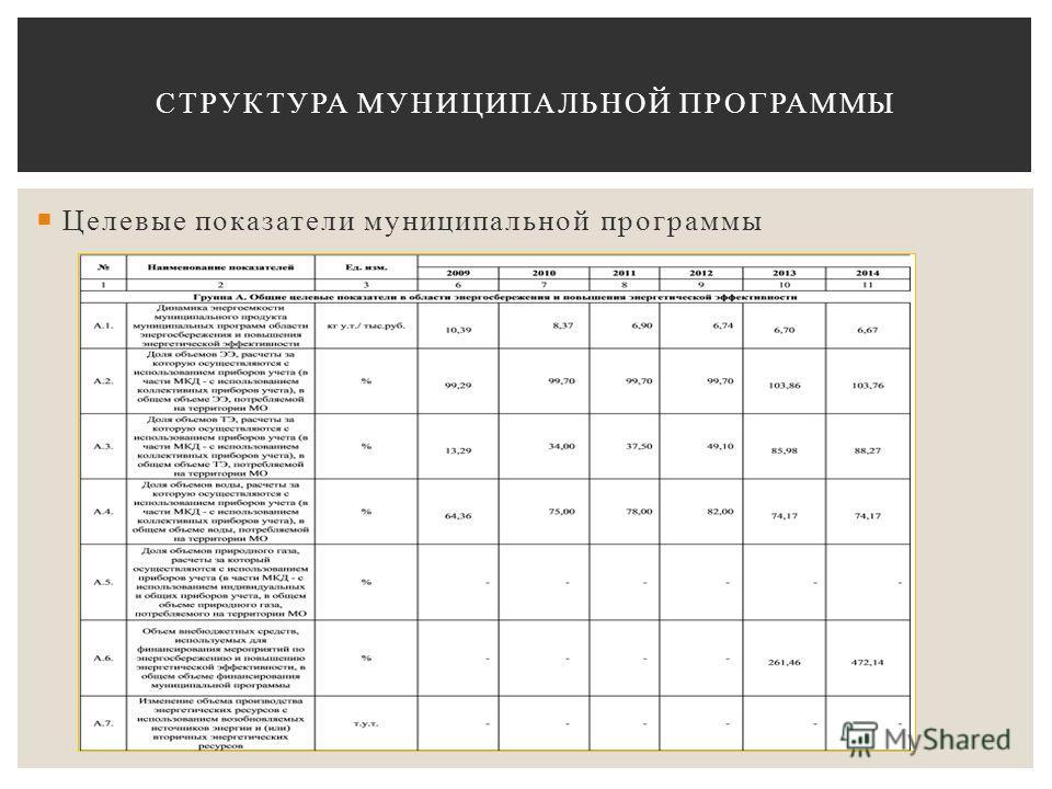 Целевые показатели муниципальной программы СТРУКТУРА МУНИЦИПАЛЬНОЙ ПРОГРАММЫ