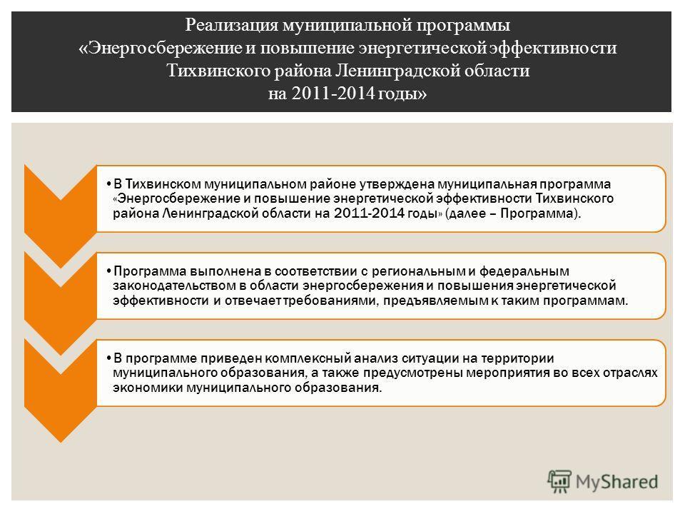 В Тихвинском муниципальном районе утверждена муниципальная программа «Энергосбережение и повышение энергетической эффективности Тихвинского района Ленинградской области на 2011-2014 годы» (далее – Программа). Программа выполнена в соответствии с реги