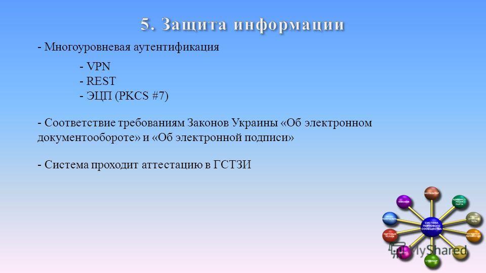 - Многоуровневая аутентификация - VPN - REST - ЭЦП (PKCS #7) - Соответствие требованиям Законов Украины «Об электронном документообороте» и «Об электронной подписи» - Система проходит аттестацию в ГСТЗИ