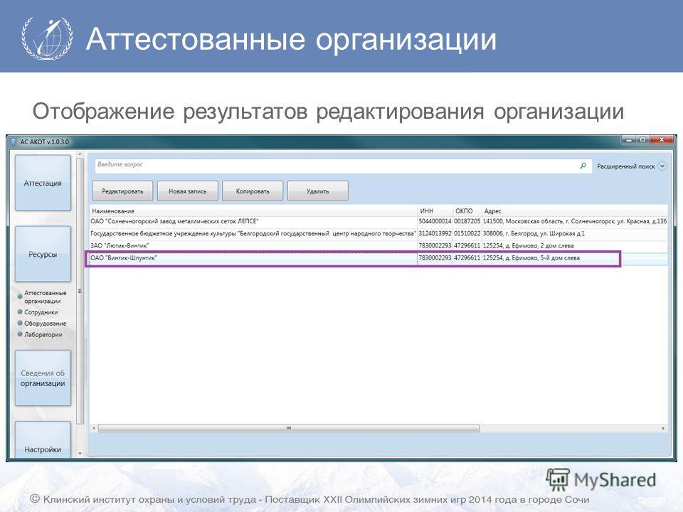 Аттестованные организации Отображение результатов редактирования организации