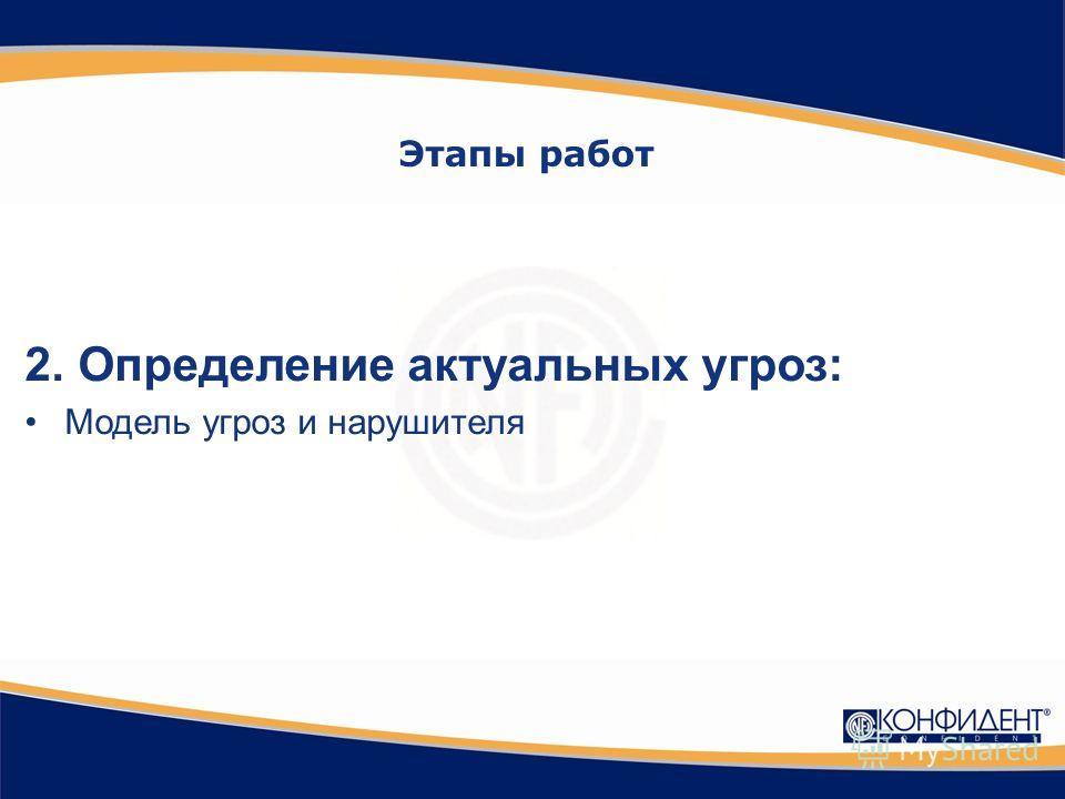 2.Определение актуальных угроз: Модель угроз и нарушителя Этапы работ