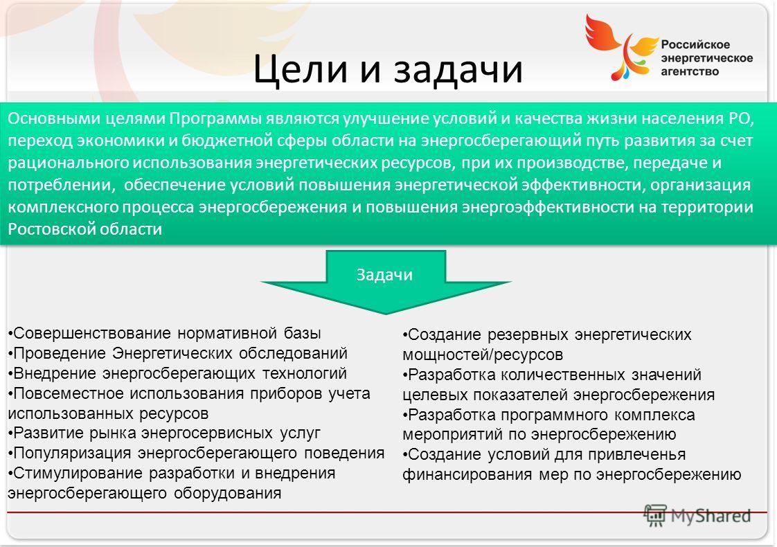 Российское энергетическое агентство Цели и задачи Основными целями Программы являются улучшение условий и качества жизни населения РО, переход экономики и бюджетной сферы области на энергосберегающий путь развития за счет рационального использования