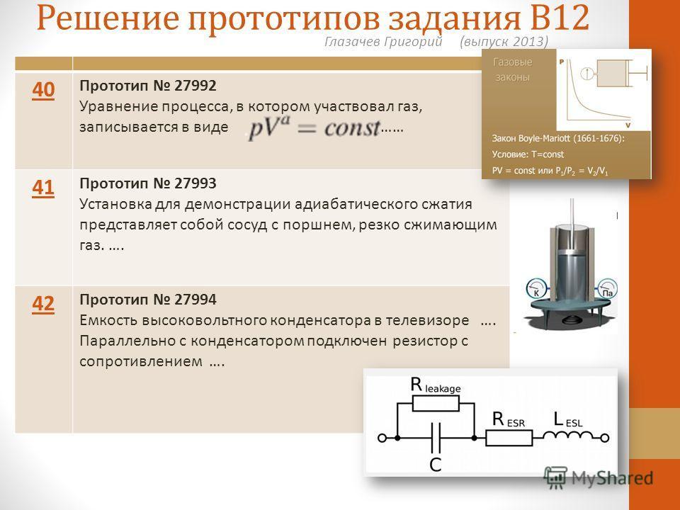 Решение прототипов задания В12 Глазачев Григорий (выпуск 2013) 40 Прототип 27992 Уравнение процесса, в котором участвовал газ, записывается в виде …… 41 Прототип 27993 Установка для демонстрации адиабатического сжатия представляет собой сосуд с поршн