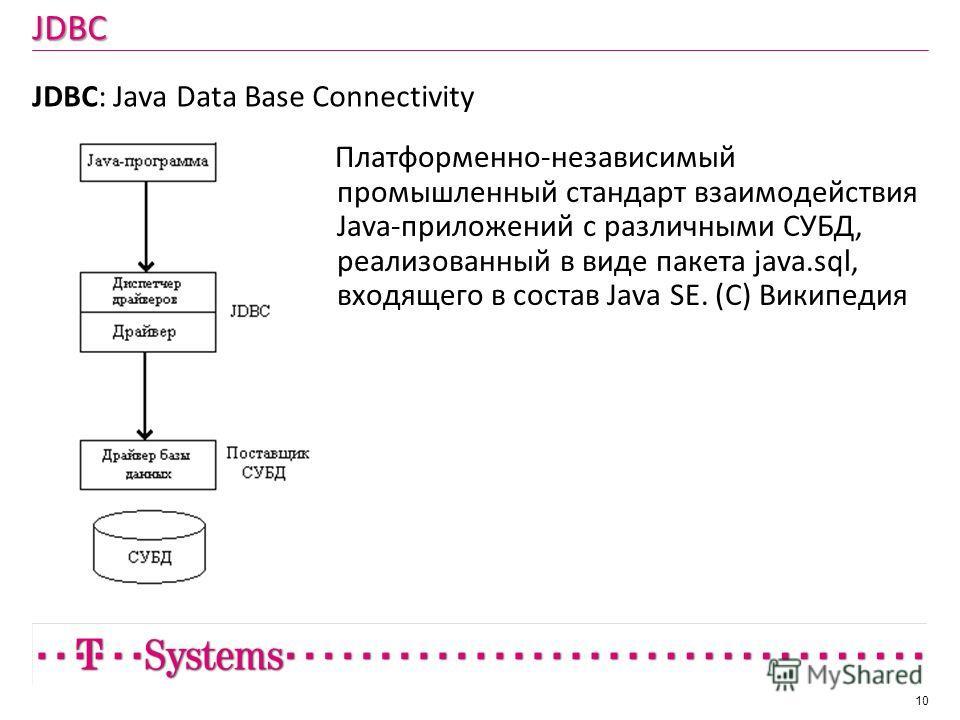 JDBC JDBC: Java Data Base Connectivity 10 Платформенно-независимый промышленный стандарт взаимодействия Java-приложений с различными СУБД, реализованный в виде пакета java.sql, входящего в состав Java SE. (С) Википедия