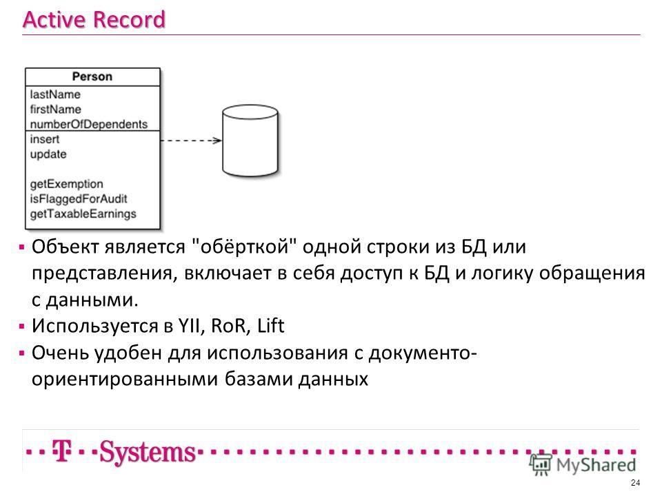 Active Record Объект является обёрткой одной строки из БД или представления, включает в себя доступ к БД и логику обращения с данными. Используется в YII, RoR, Lift Очень удобен для использования с документо- ориентированными базами данных 24