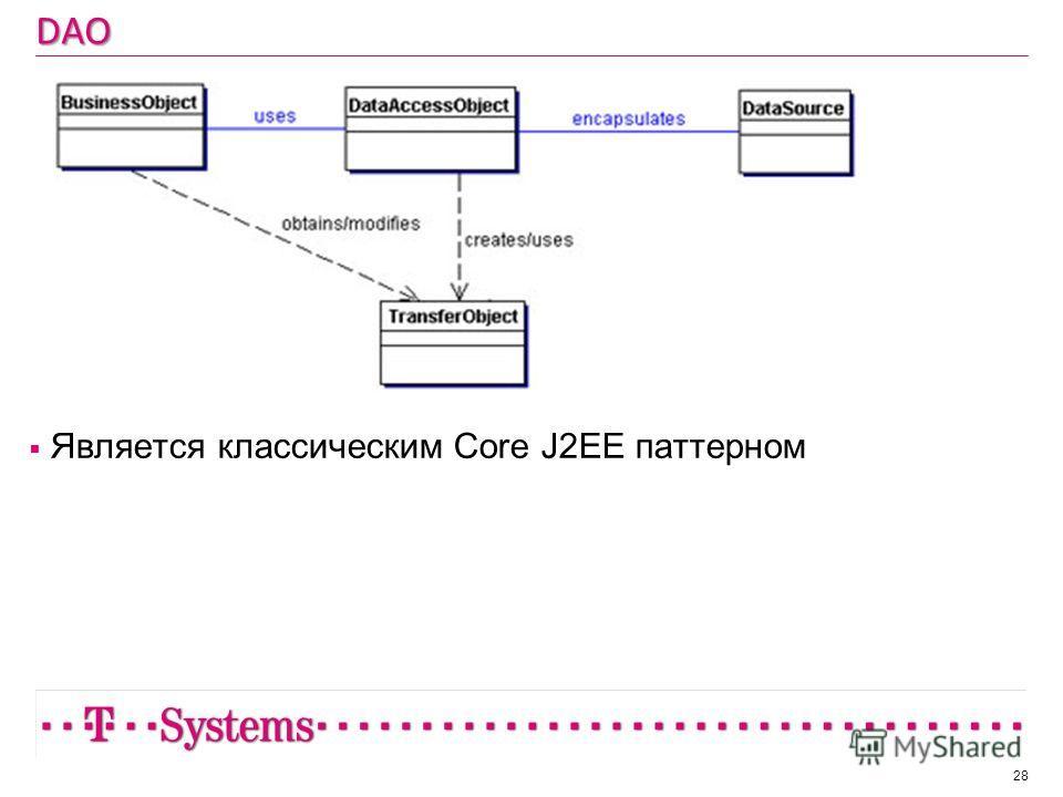 DAO Является классическим Core J2EE паттерном 28