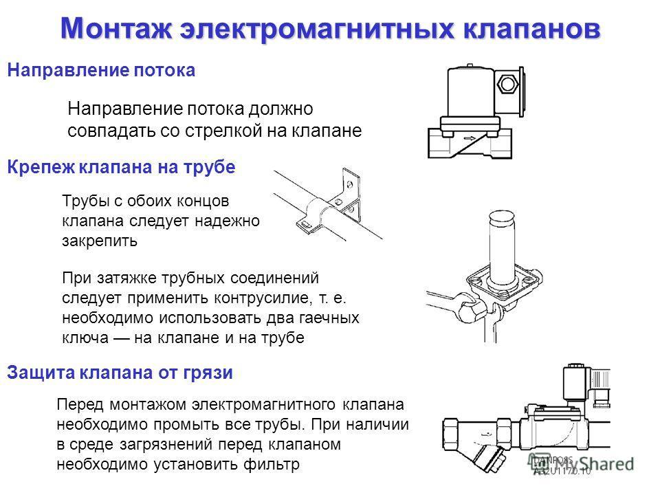 Монтаж электромагнитных клапанов Направление потока должно совпадать со стрелкой на клапане Крепеж клапана на трубе Трубы с обоих концов клапана следует надежно закрепить При затяжке трубных соединений следует применить контрусилие, т. е. необходимо