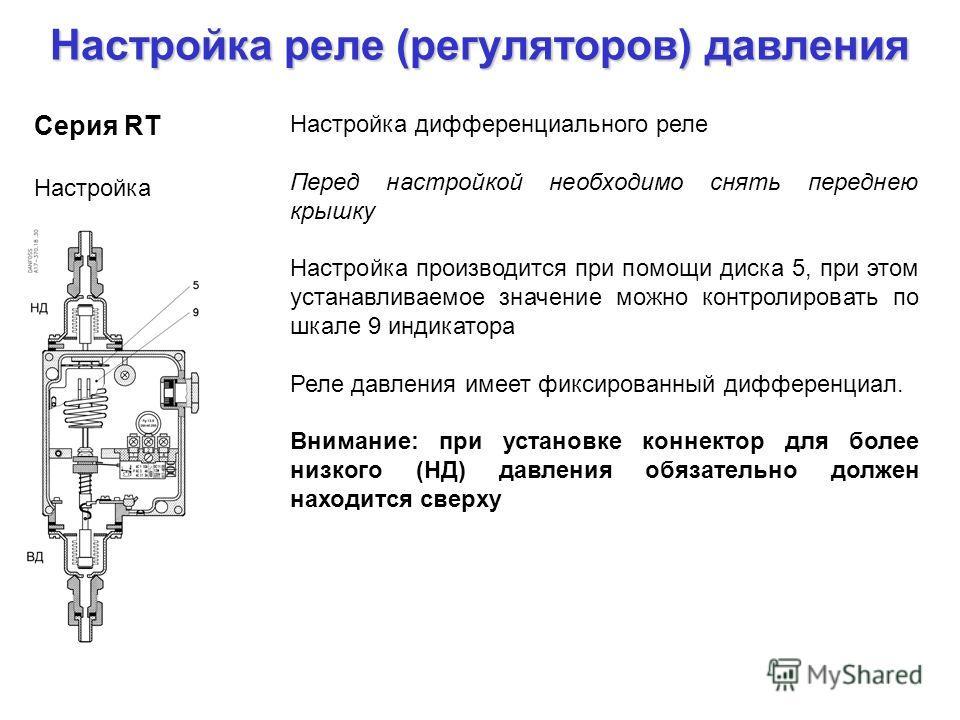 Настройка реле (регуляторов) давления Серия RT Настройка Настройка дифференциального реле Перед настройкой необходимо снять переднею крышку Настройка производится при помощи диска 5, при этом устанавливаемое значение можно контролировать по шкале 9 и
