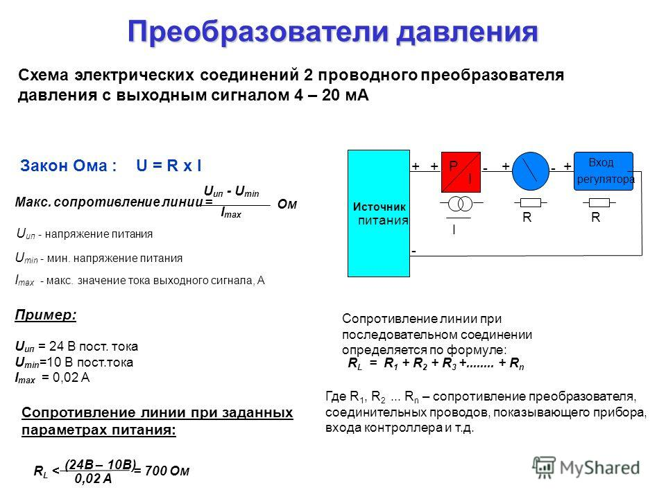 Преобразователи давления Схема электрических соединений 2 проводного преобразователя давления с выходным сигналом 4 – 20 мА Макс. сопротивление линии = U ип - U min I max U min - мин. напряжение питания I max - макс. значение тока выходного сигнала,