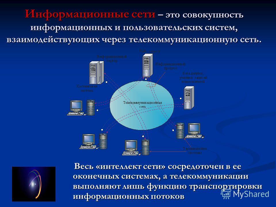 Информационные сети – это совокупность информационных и пользовательских систем, взаимодействующих через телекоммуникационную сеть. Весь «интеллект сети» сосредоточен в ее оконечных системах, а телекоммуникации выполняют лишь функцию транспортировки