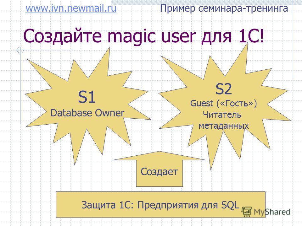 www.ivn.newmail.ruwww.ivn.newmail.ru Пример семинара-тренинга Создайте magic user для 1С! S1 Database Owner S2 Guest («Гость») Читатель метаданных Защита 1С: Предприятия для SQL Создает