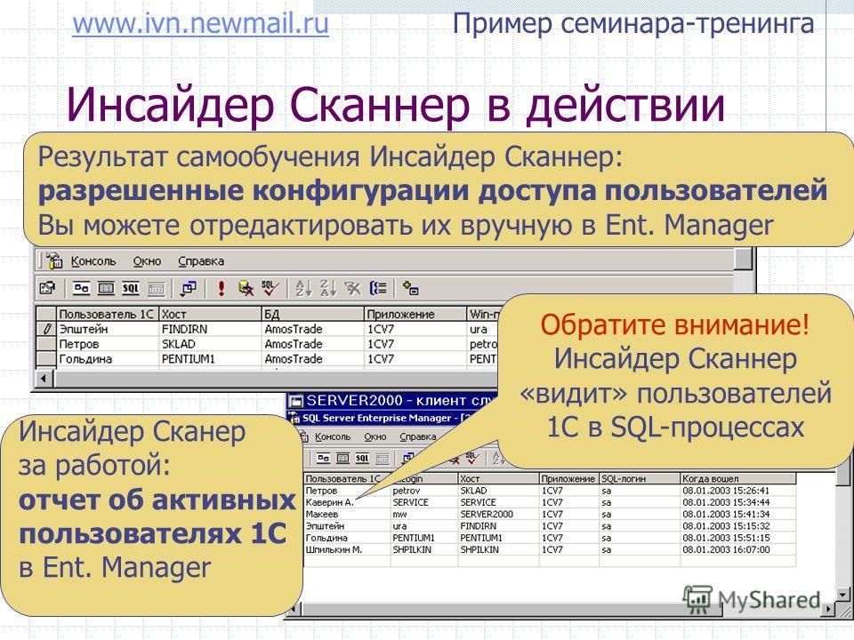 www.ivn.newmail.ruwww.ivn.newmail.ru Пример семинара-тренинга Инсайдер Сканнер в действии Результат самообучения Инсайдер Сканнер: разрешенные конфигурации доступа пользователей Вы можете отредактировать их вручную в Ent. Manager Инсайдер Сканер за р