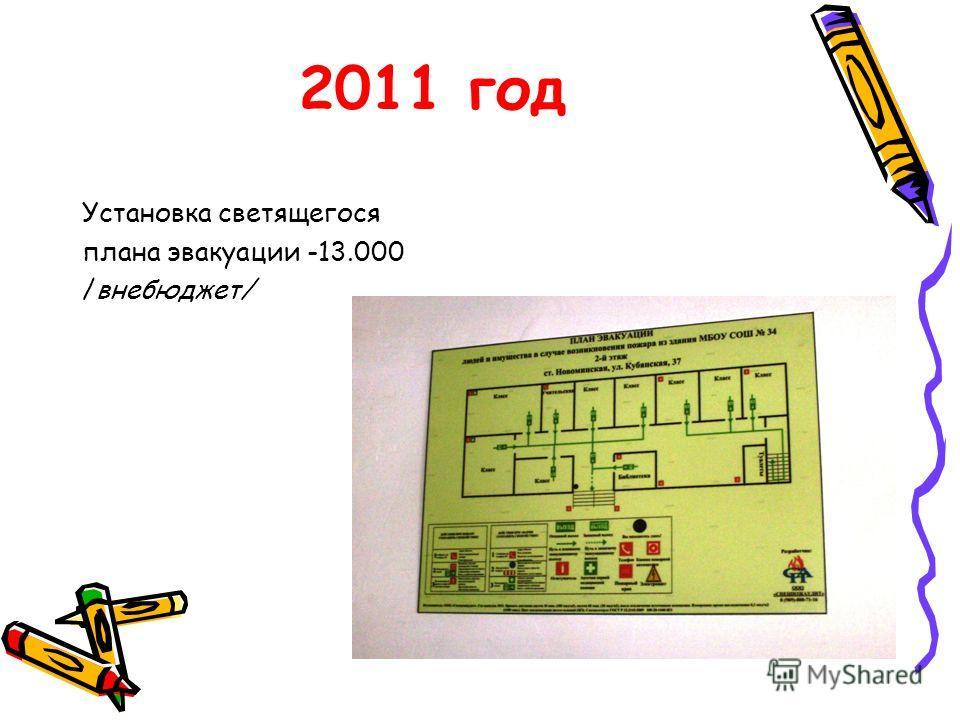 2011 год Установка светящегося плана эвакуации -13.000 /внебюджет/