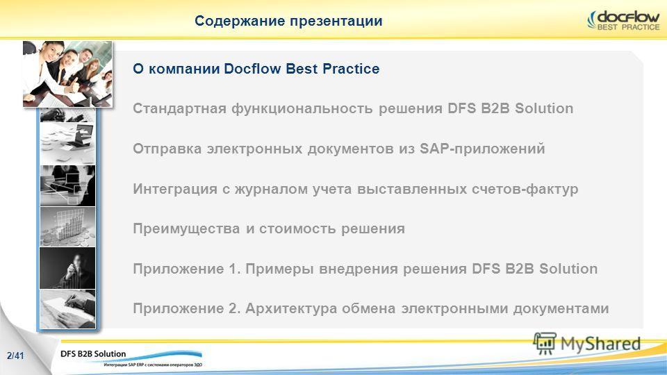 Содержание презентации О компании Docflow Best Practice Стандартная функциональность решения DFS B2B Solution Отправка электронных документов из SAP-приложений Интеграция с журналом учета выставленных счетов-фактур Преимущества и стоимость решения Пр