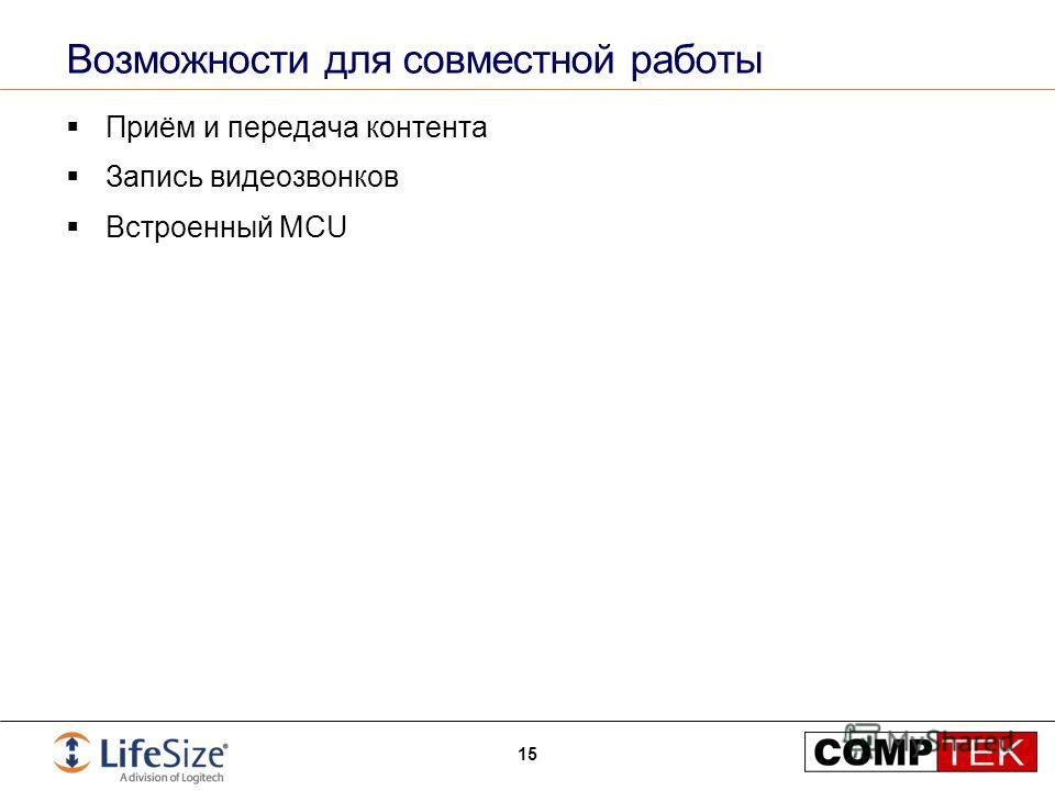 Возможности для совместной работы Приём и передача контента Запись видеозвонков Встроенный MCU 15