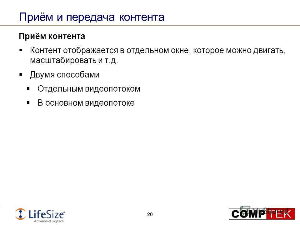 Приём и передача контента Приём контента Контент отображается в отдельном окне, которое можно двигать, масштабировать и т.д. Двумя способами Отдельным видеопотоком В основном видеопотоке 20