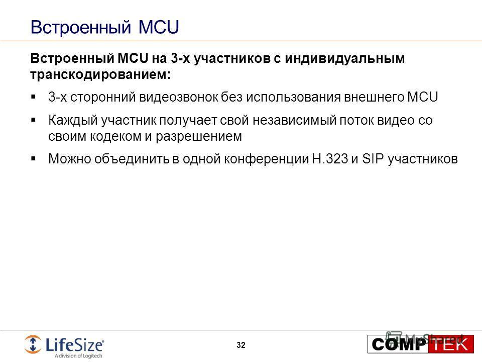 Встроенный MCU Встроенный MCU на 3-х участников с индивидуальным транскодированием: 3-х сторонний видеозвонок без использования внешнего MCU Каждый участник получает свой независимый поток видео со своим кодеком и разрешением Можно объединить в одной